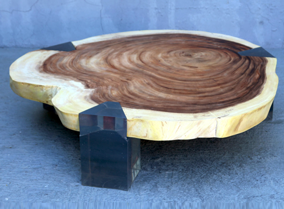 Center Table Acacia Round Wood Slab With Clear Resin Legs