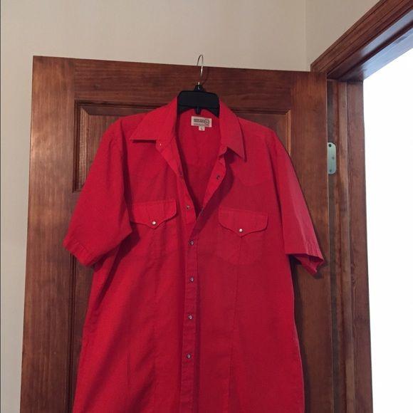 Men or women red western shirt Man or woman western shirt by Shepler short sleeve. White pearl snaps Shepler Tops