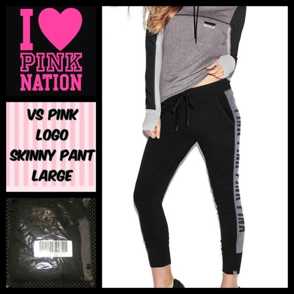 """NWT VS PINK LG LOGO SKINNY JOGGER NWT VS PINK LG LOGO SKINNY JOGGER. These are black with """"logo"""" writing in grey down the sides. Ankles are a skinny fit, and pants fit more relaxed. Overall adorable pair of sweats, never been opened, can ship same or next day. No trades, bundle to save PINK Victoria's Secret Pants Track Pants & Joggers"""