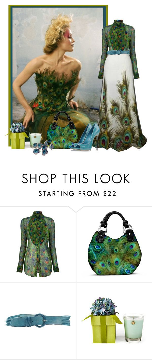 """peacock"" by concettodimoda ❤ liked on Polyvore featuring If Six Was Nine, The Bradford Exchange, Orciani, Gucci and Lux"