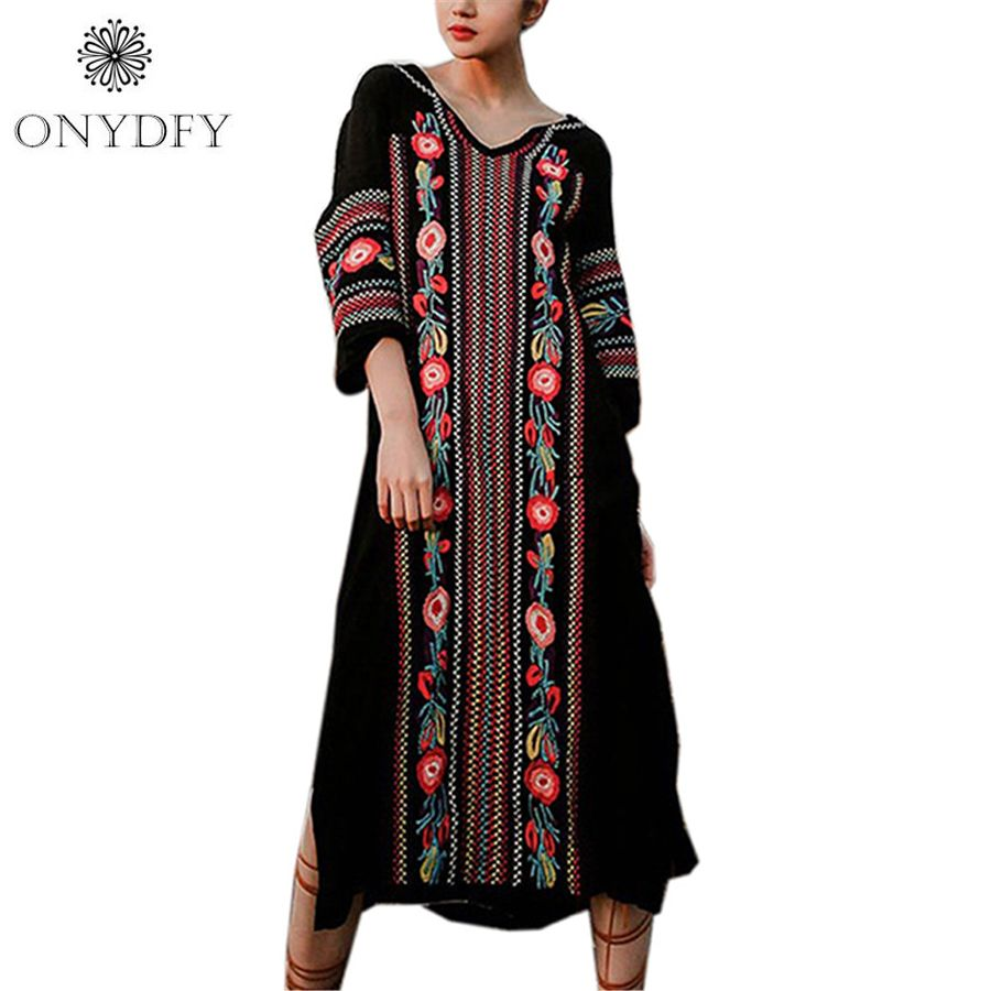 Runway dresses women high quality bohemian ethnic long maxi