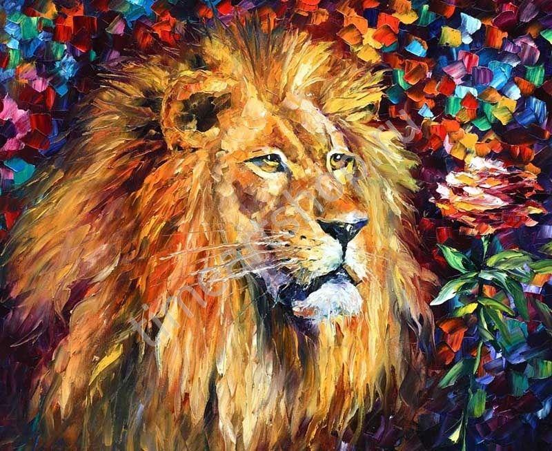 Афремов. Лев и роза. картина раскраска по номерам, размер ...