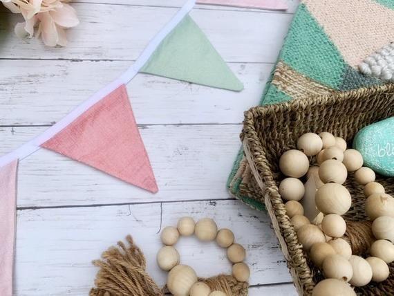 Photo of Pastel bunting banner, Nursery bunting, Pennant flag garland, Flag banner, Birthday banner, Baby shower, Photo prop, bridal shower decor
