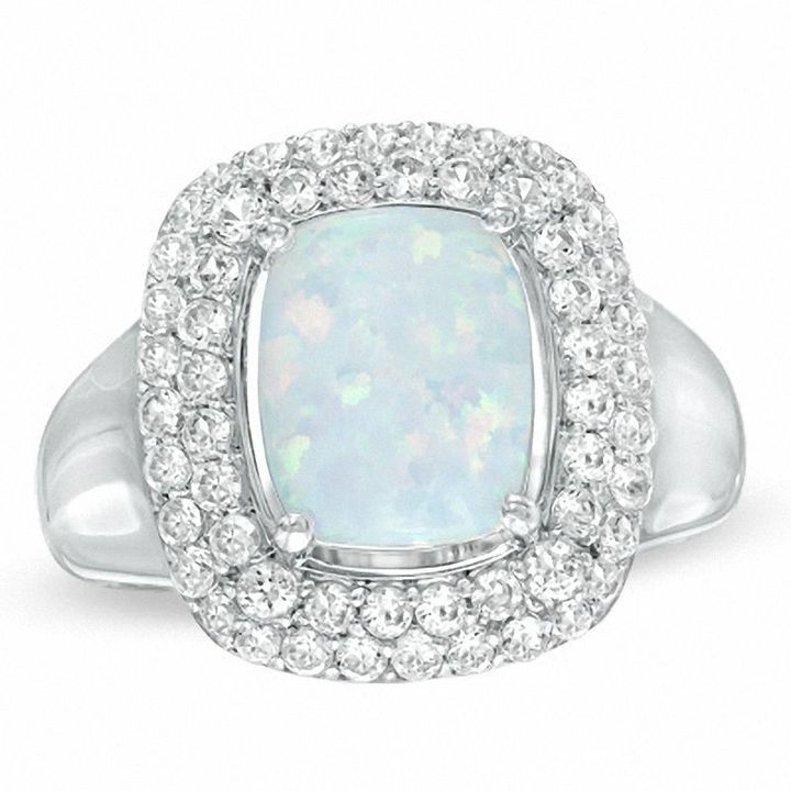Zales Lab-Created White Sapphire Cushion-Shaped Cluster Ring in Sterling Silver Wp3LNp