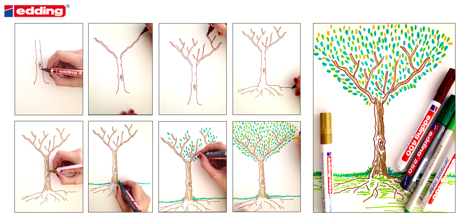 Aprende A Dibujar Un Arbol Paso A Paso Drawing For Kids Drawings Turquoise Necklace