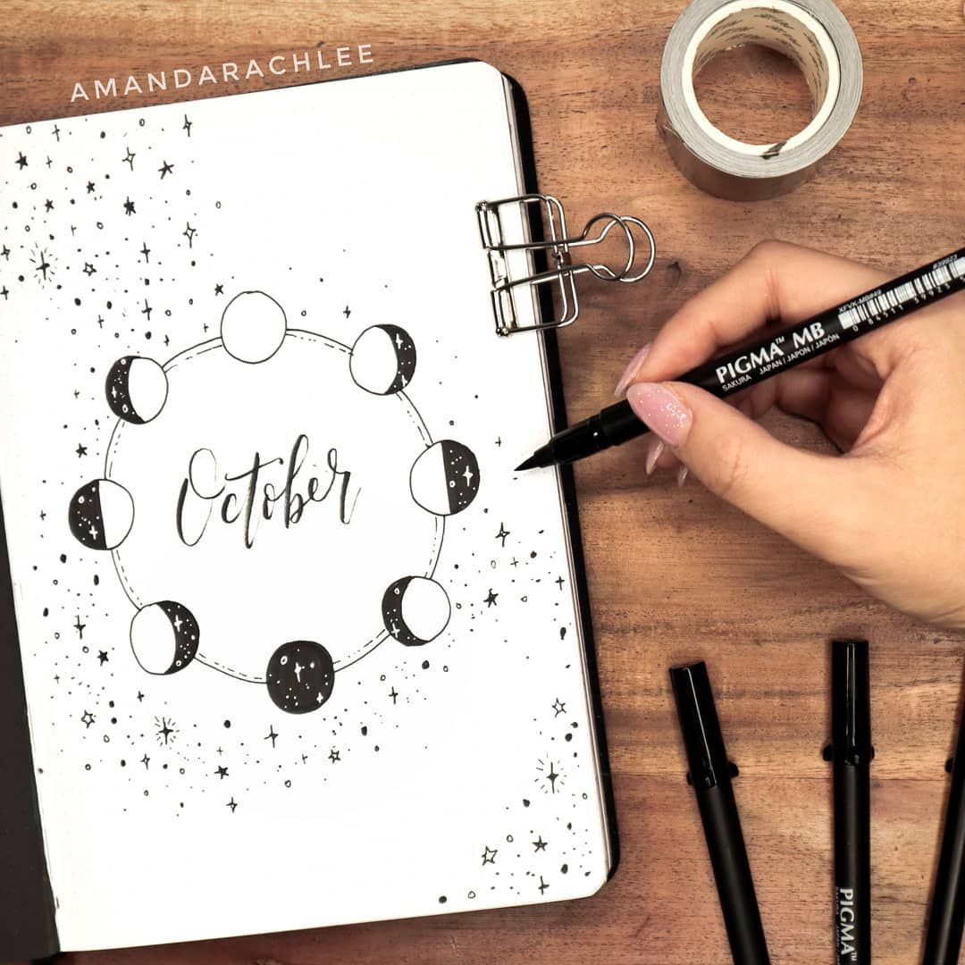 "AmandaRachLee on Instagram: ""my october plan with me and bullet journal setup is now live on my youtube channel! 🌛 this month i did a FULLY black & white moon theme 😱 i…"""