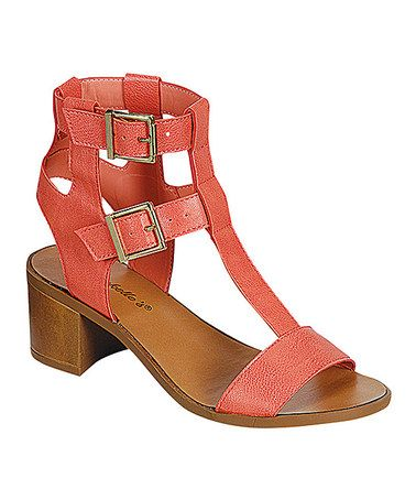 Loving this Soft Peach T-Strap Robin Sandal on #zulily! #zulilyfinds