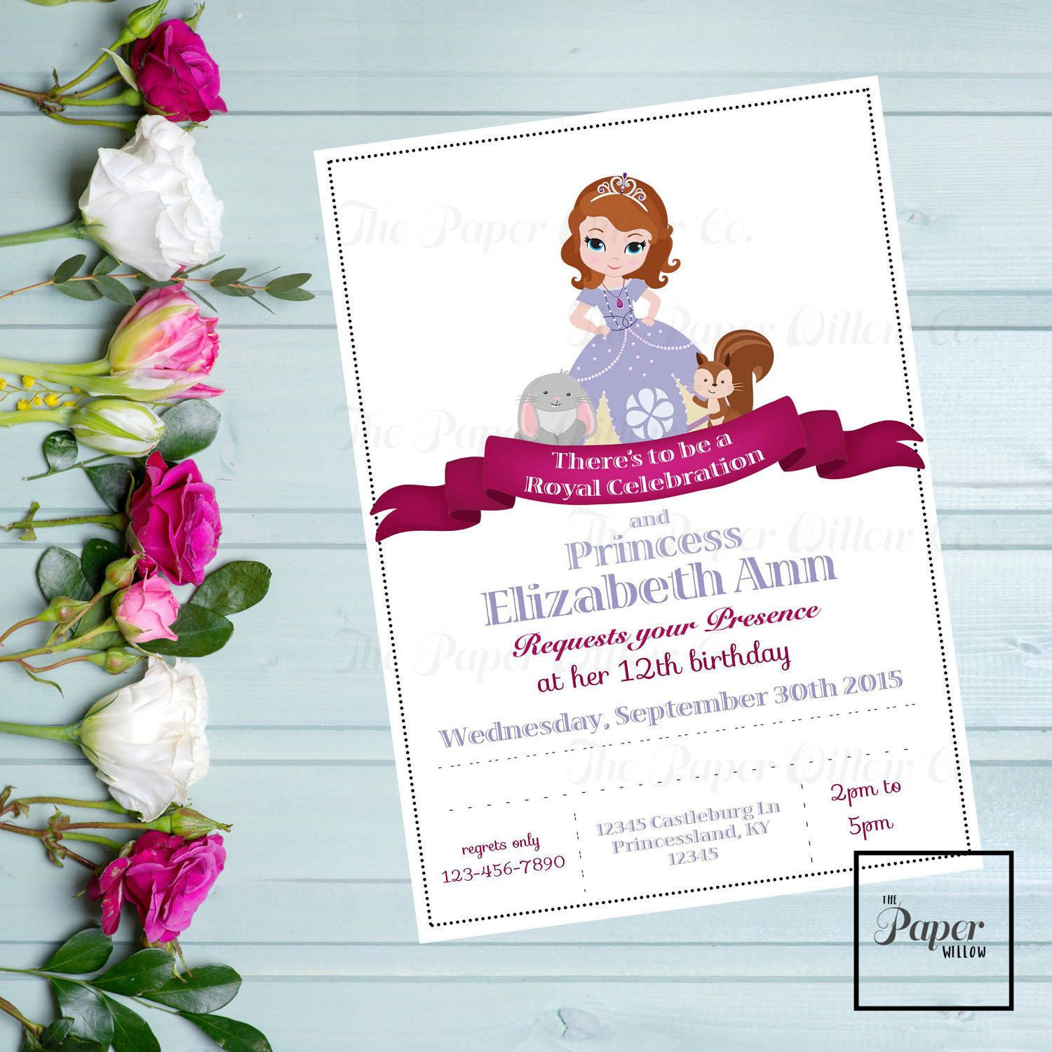 Sofia BIRTHDAY Invite-Printable Invitation-Print Yourself-INSTANT ...