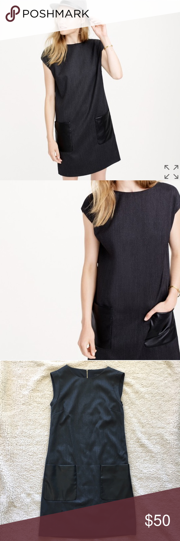 J. Crew Sheath Dress with Faux-Leather Pockets, 00 J. Crew Faux Leather Pocket Sheath Dress in a gray wool-blend with back zipper. Classic dress that transitions beautifully between seasons. Good used condition from a smoke-free, pet-free home. Size: 00 J. Crew Dresses