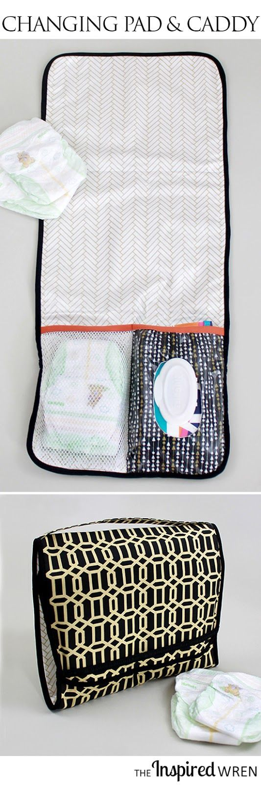 tutorial on the go diaper caddy changing pad best crafts and sewing projects on pinterest. Black Bedroom Furniture Sets. Home Design Ideas