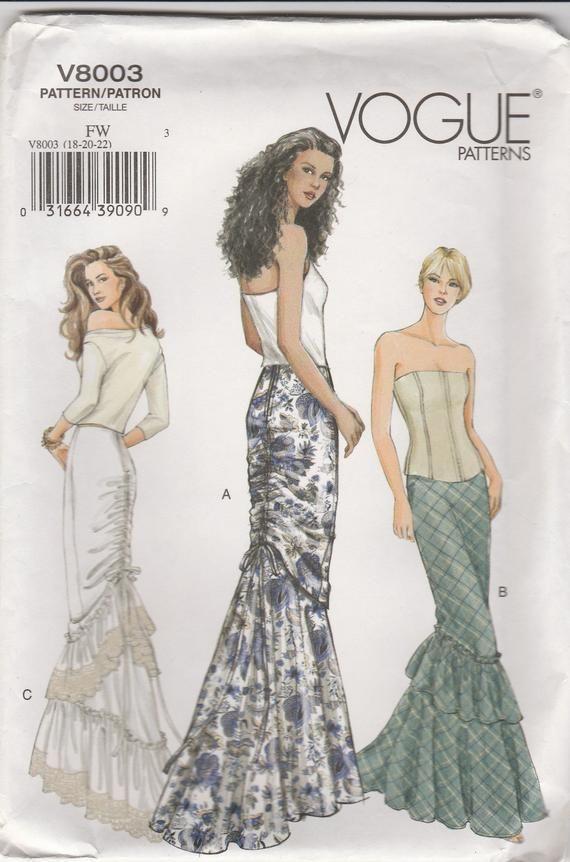 Outstanding Fishtail Skirt Pattern Vogue 8003 Sizes 18 – 22 Uncut