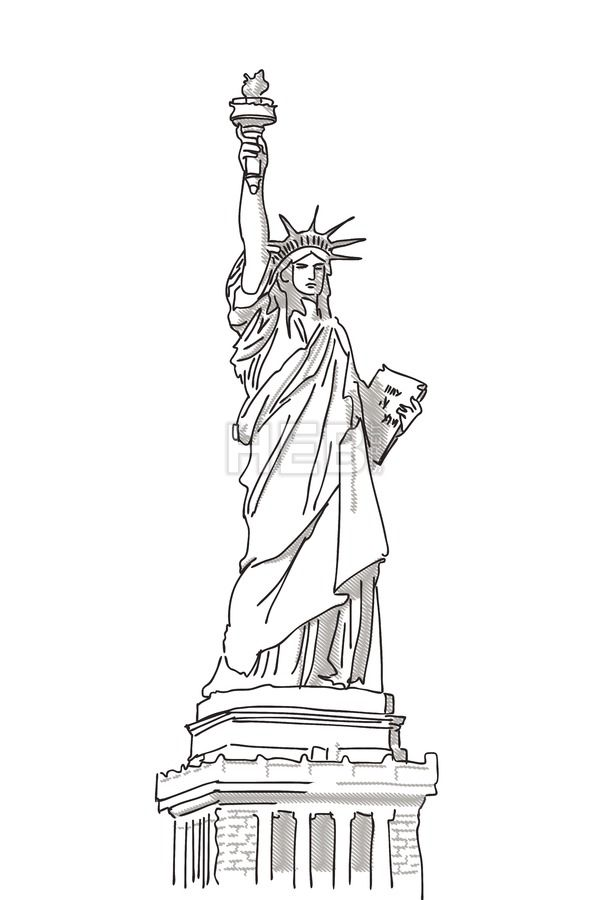 Custom vector map service | Statue of liberty drawing ...