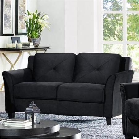 Lifestyle Solutions Hartford Microfiber Loveseat in Black