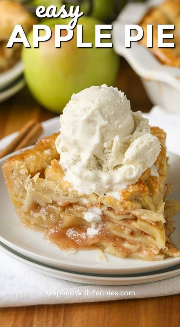 :ayers of tender juicy apples piled high in a flaky pie crust, this easy apple pie recipe is a favorite. Cinnamon, sugar and juicy apples are the perfect classic combination.  Serve this with ice cream or a slice of cheddar for the perfect dessert! #spendwithpennies #applepie #applepierecipe #bakedapples #easyapplepie #pierecipe #dessertrecipe #appledessert #easyaspie via @spendpennies #applepie