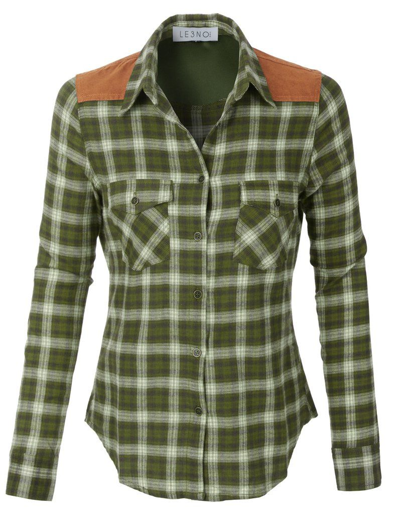 Flannel dress womens  LENO Womens Lightweight Button Down Checkered Flannel Shirt with