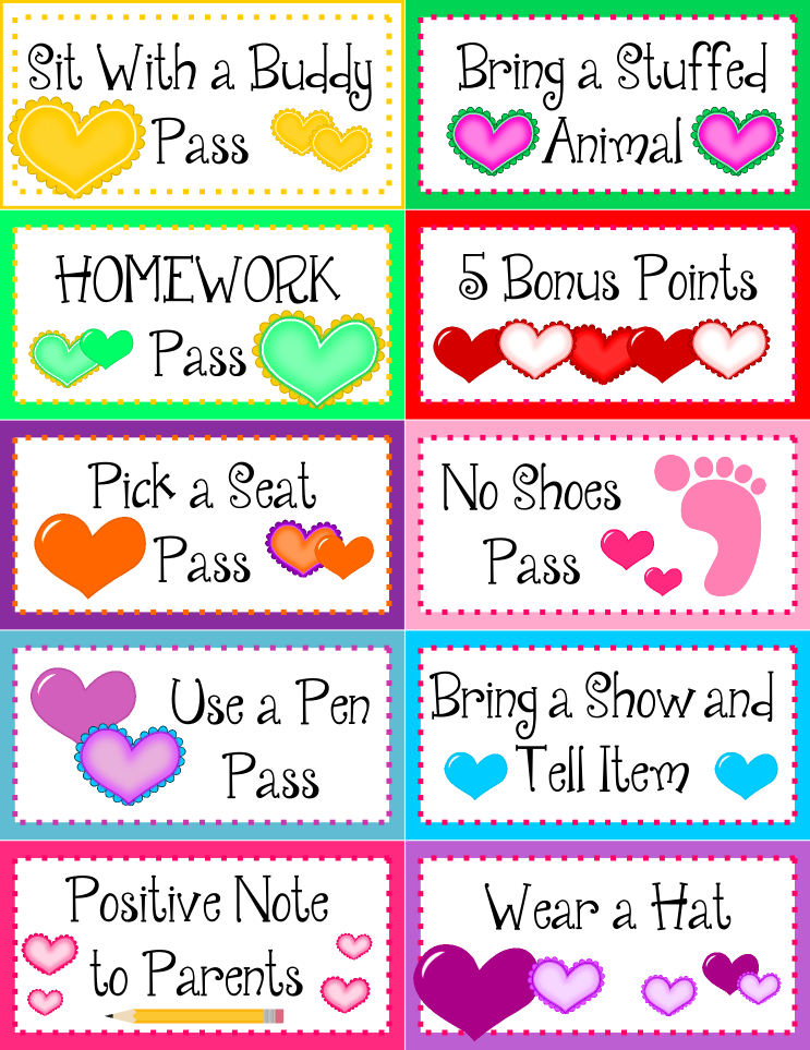 FREE heart behavior coupons and editable template in