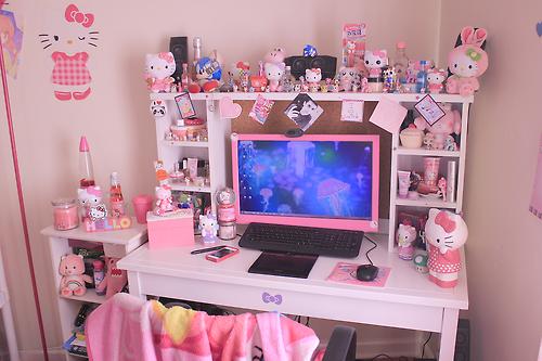 Ariel In Kawaiiland Kitty Cheeks Aaand My Computer Desk Nwn Gamer Room Gamer Room Decor Kawaii Room