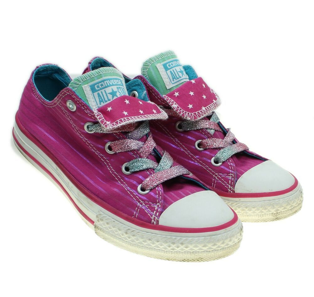 Converse All Star Girls Pink Metallic Double Tongue Lace ups
