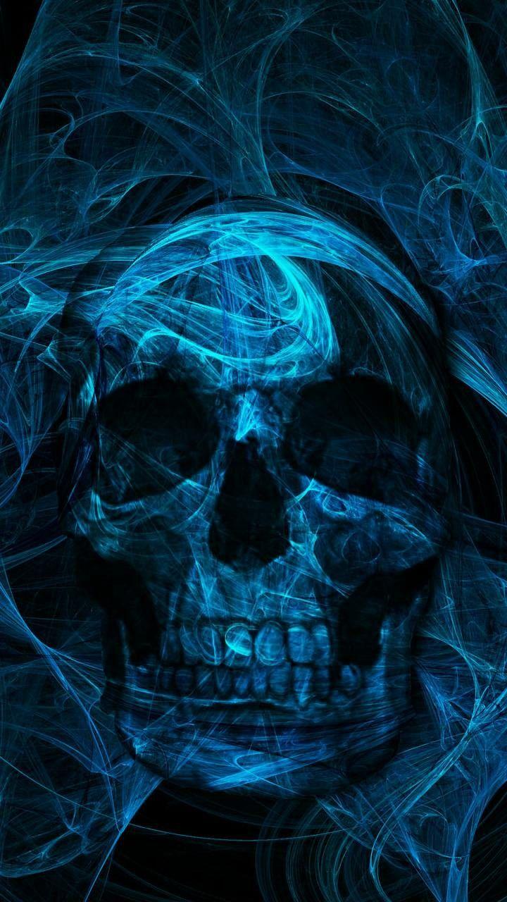 Blue skull in 2019 Skull art, Skull wallpaper iphone