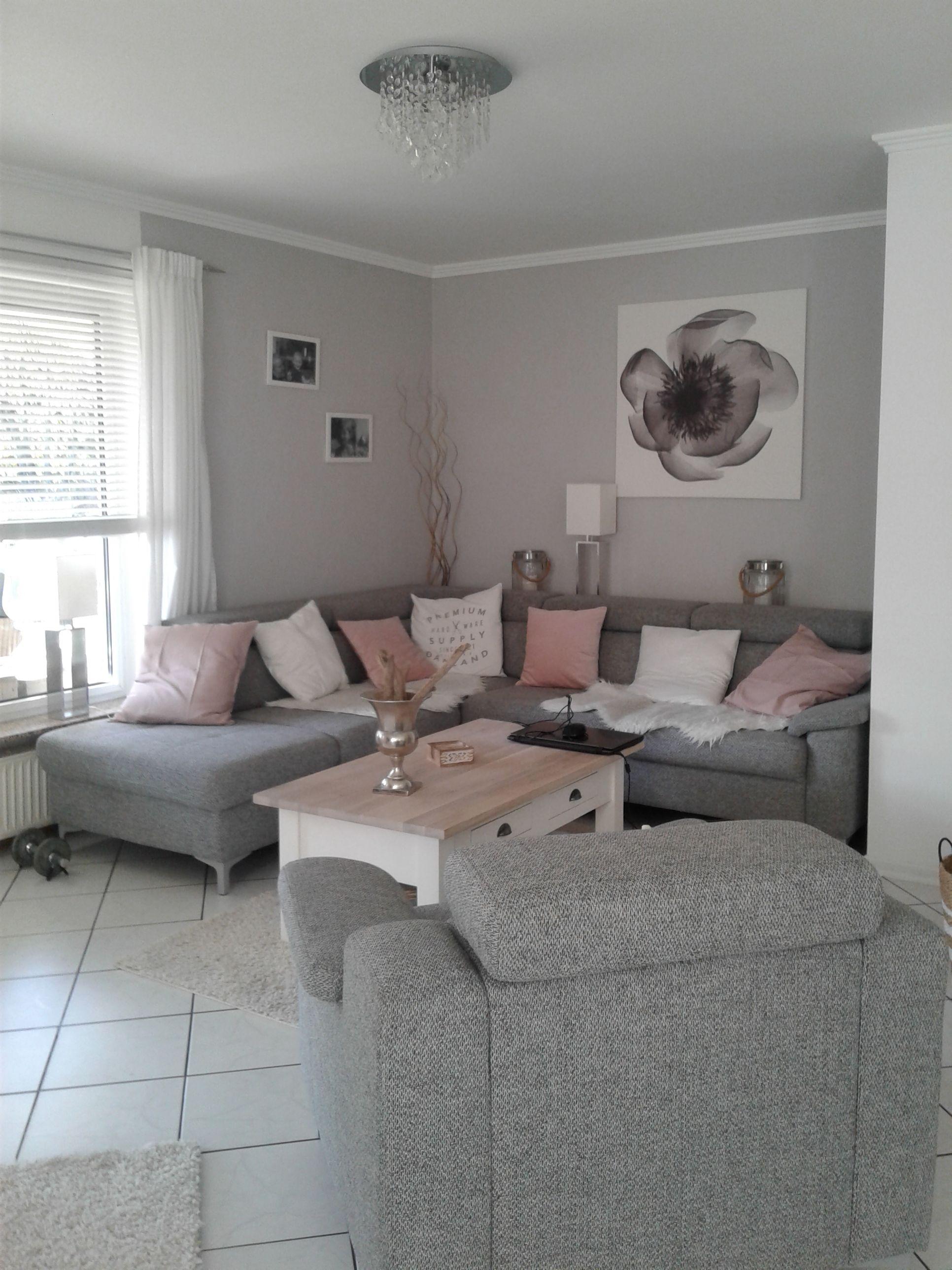 Wohnzimmer in grau- weiß und Farbtupfer in matt rosa  Wohnzimmer
