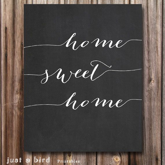 HOME SWEET Chalkboard Art Printable Home Decor Typography Print Homewarming Gift Entryway