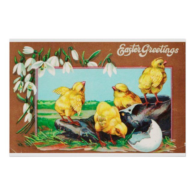 Vintage Easter Illustrations Poster | Zazzle.com