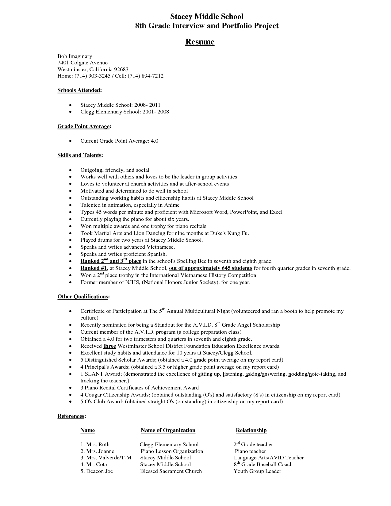 Portfolio Resume Examples Middle School Student Resume Example Stacey Middle
