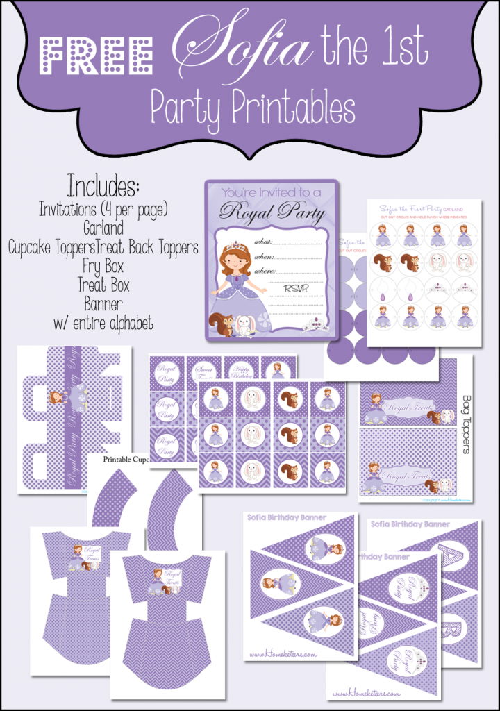 FREE Sofia the First Printable Party Set from Homeketeers – First Birthday Printable Invitations