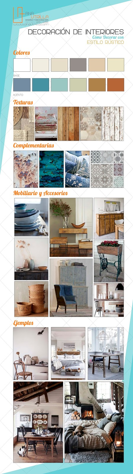 #Infografía cómo #decorar con estilo #rústico tu hogar o espacio de trabajo. #Tips Info@anautrilla.com www.anautrilla.com