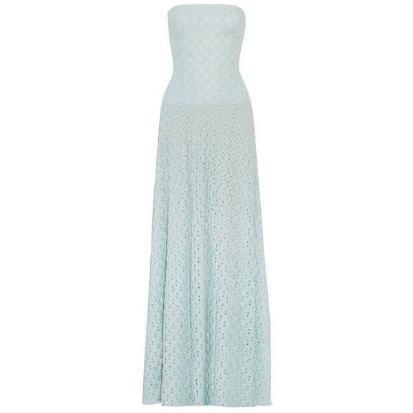 Preowned Missoni Babyblue Crochet Knit Corset Evening Gown ($799 ...