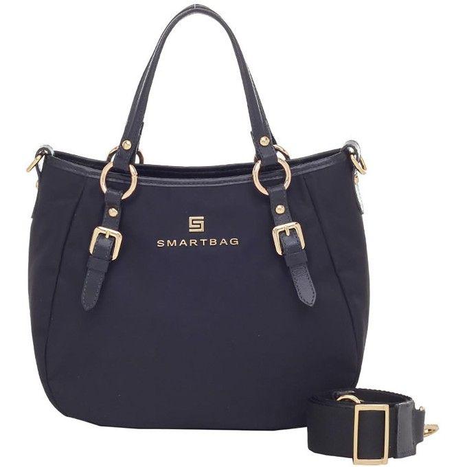 Bolsa Smartbag Alça de Mão Nylon Couro Preto - 88029.17 - Smartbag ... 8fb63f7fcc6