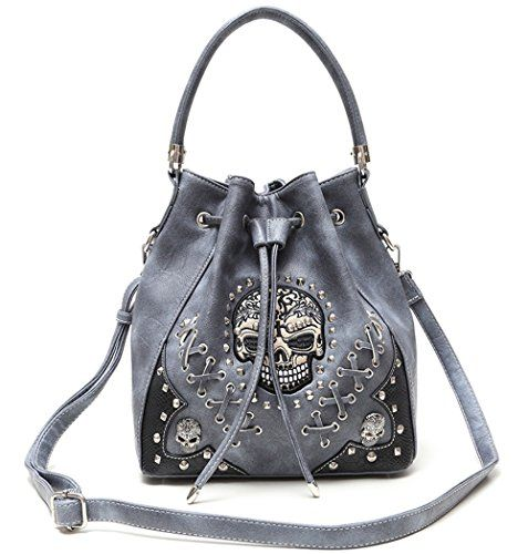 Concealed Carry Sugar Skull Biker Shoulder Bag Grey