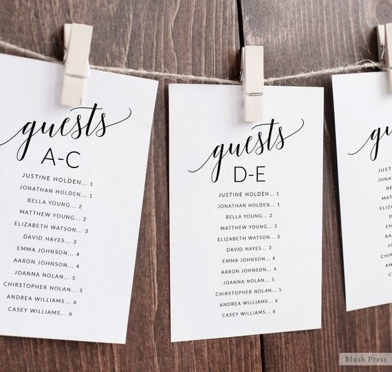 Alphabetical Wedding Seating Chart Cards Template