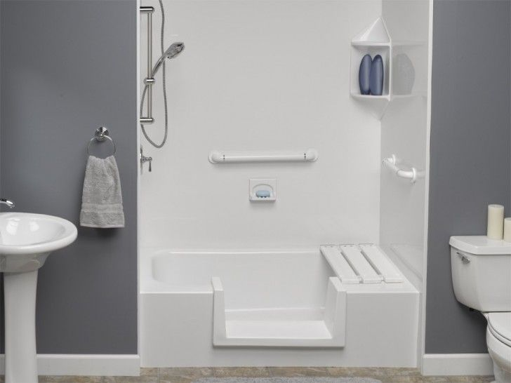 Small Bathtub With Chrome Shower In White And Grey Tiny Bathroom - Bathroom designs without tub