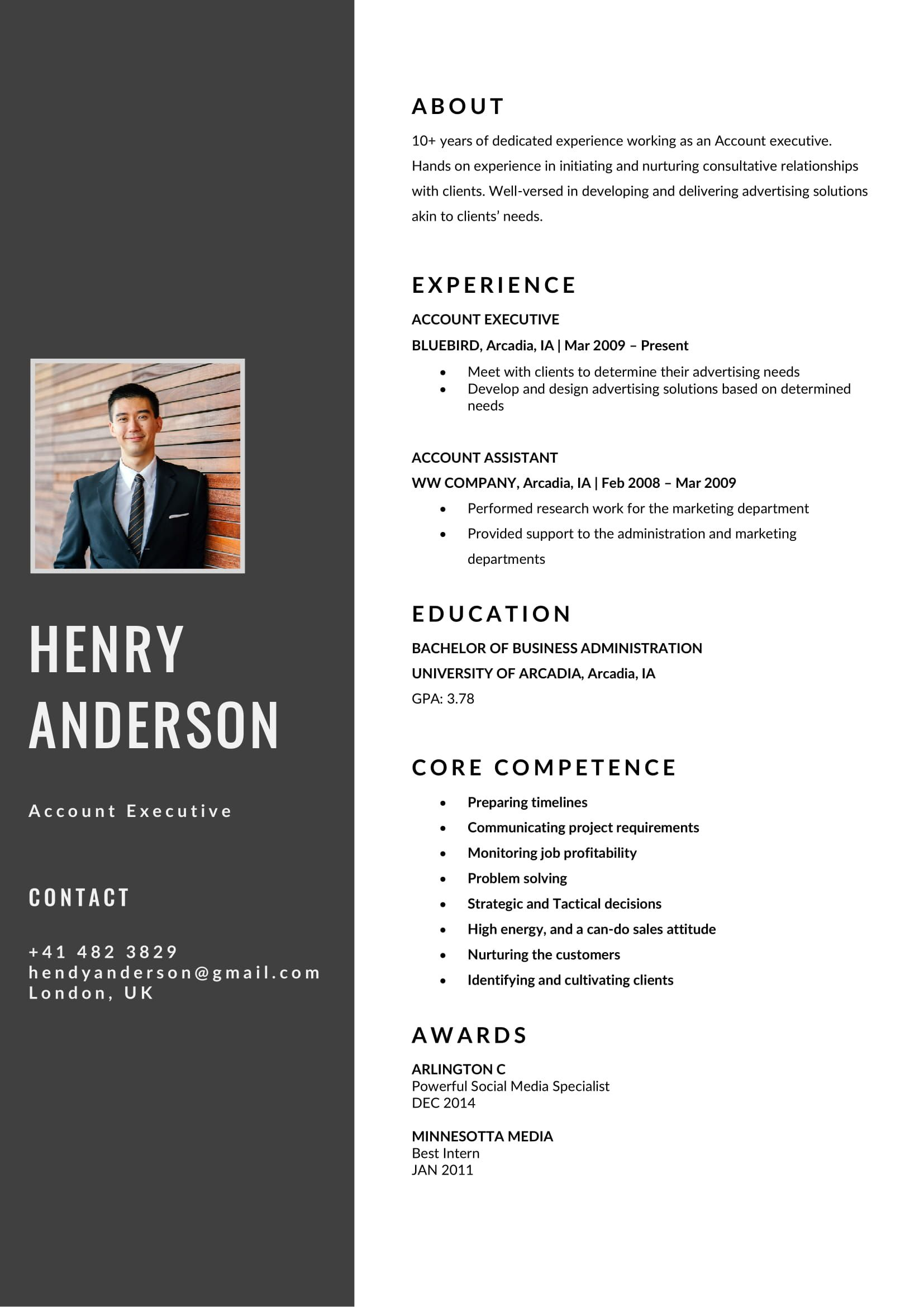 Free Account Executive CV/Resume Template in MS Word