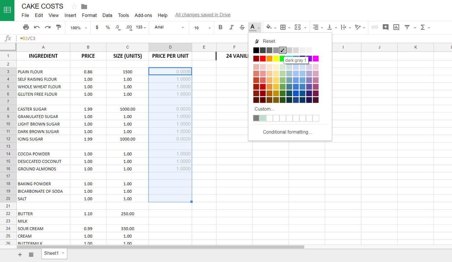 Create your own cake costs spreadsheet cake business