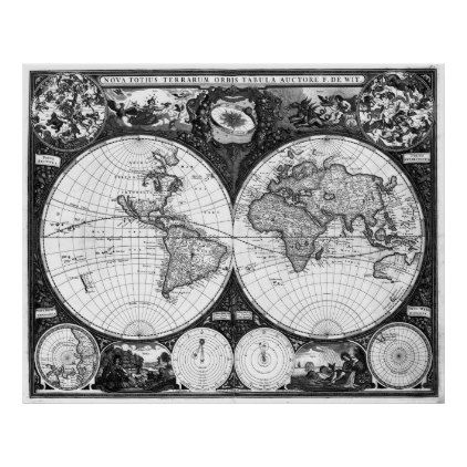 Black And White World Map 1665 Poster Zazzle Com World Map Tapestry Map Murals Map Wall Art