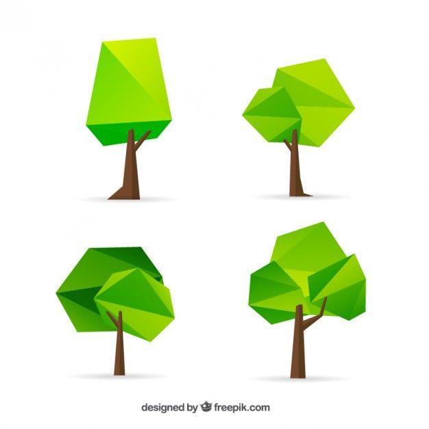 Colección de árboles geométricos Vector Gratis