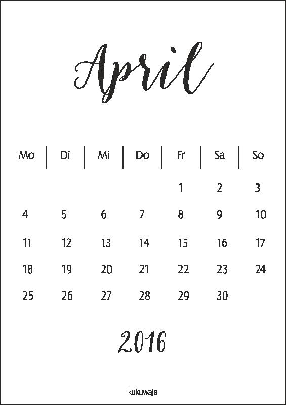 kukuwaja #freebie #download #april2016 #calendar #kalender … | Pinteres…