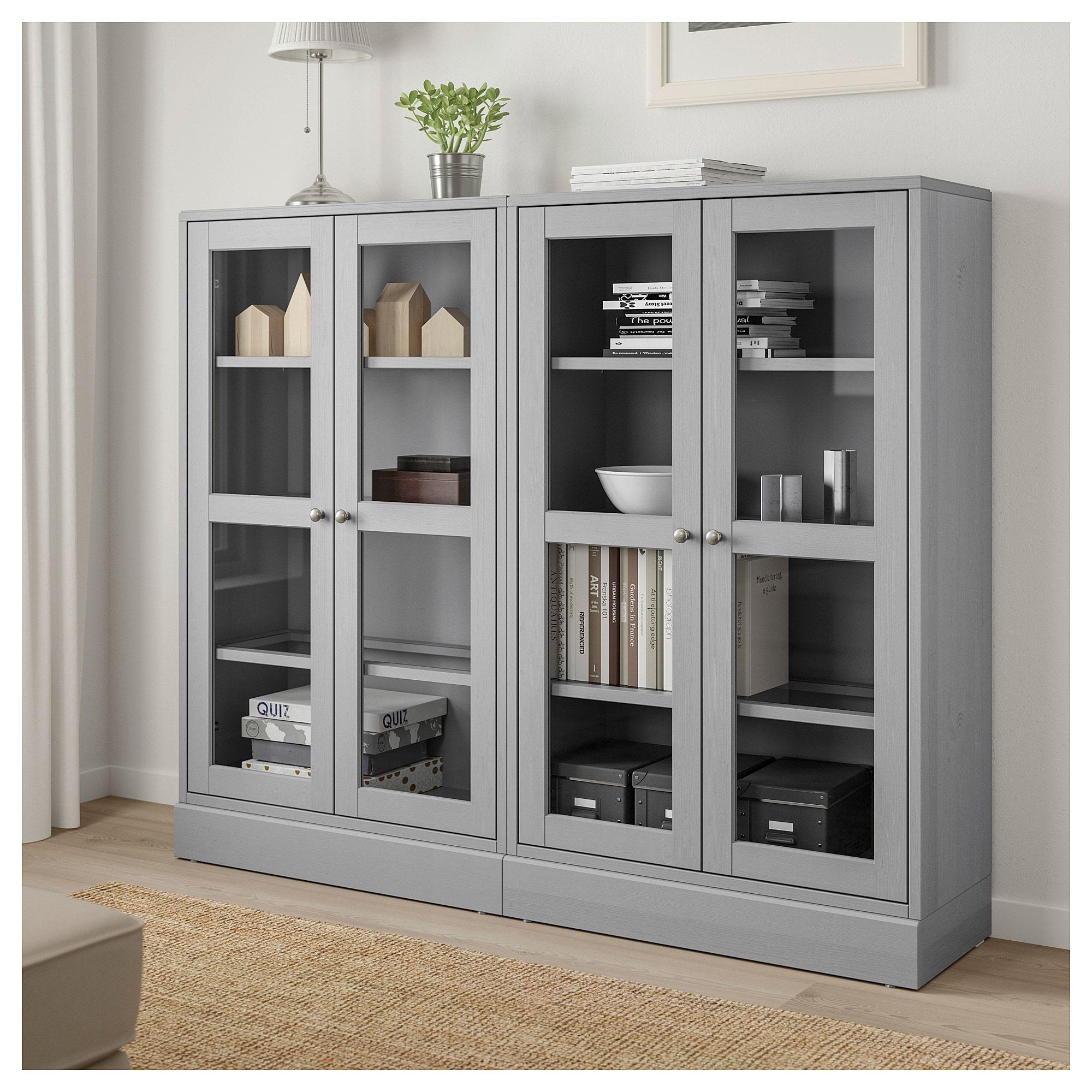 Havsta Storage Combination W Glass Doors Gray 162x37x134 Cm