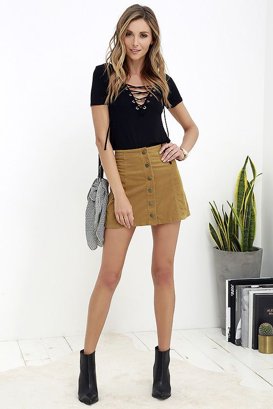 335edcaaa1578 Corduroy is back and better than ever, and pieces like the White Crow  Austin Tan Corduroy Mini Skirt have us swooning! This lightweight A-line  skirt has a ...