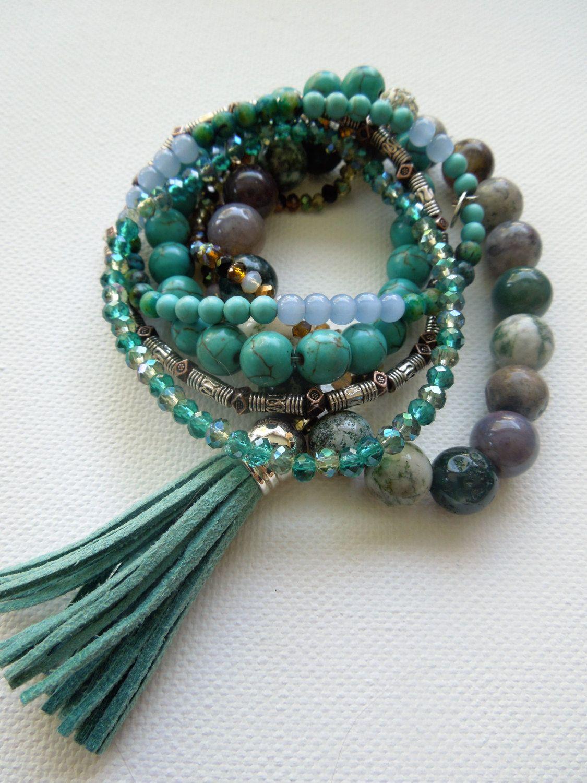 Beaded Bracelet stack. Tassle bracelet. Boho yoga style. Set of beaded bracelets. Buy, one, two, three or all. Boho chucky bracelets by PaintedSea on Etsy