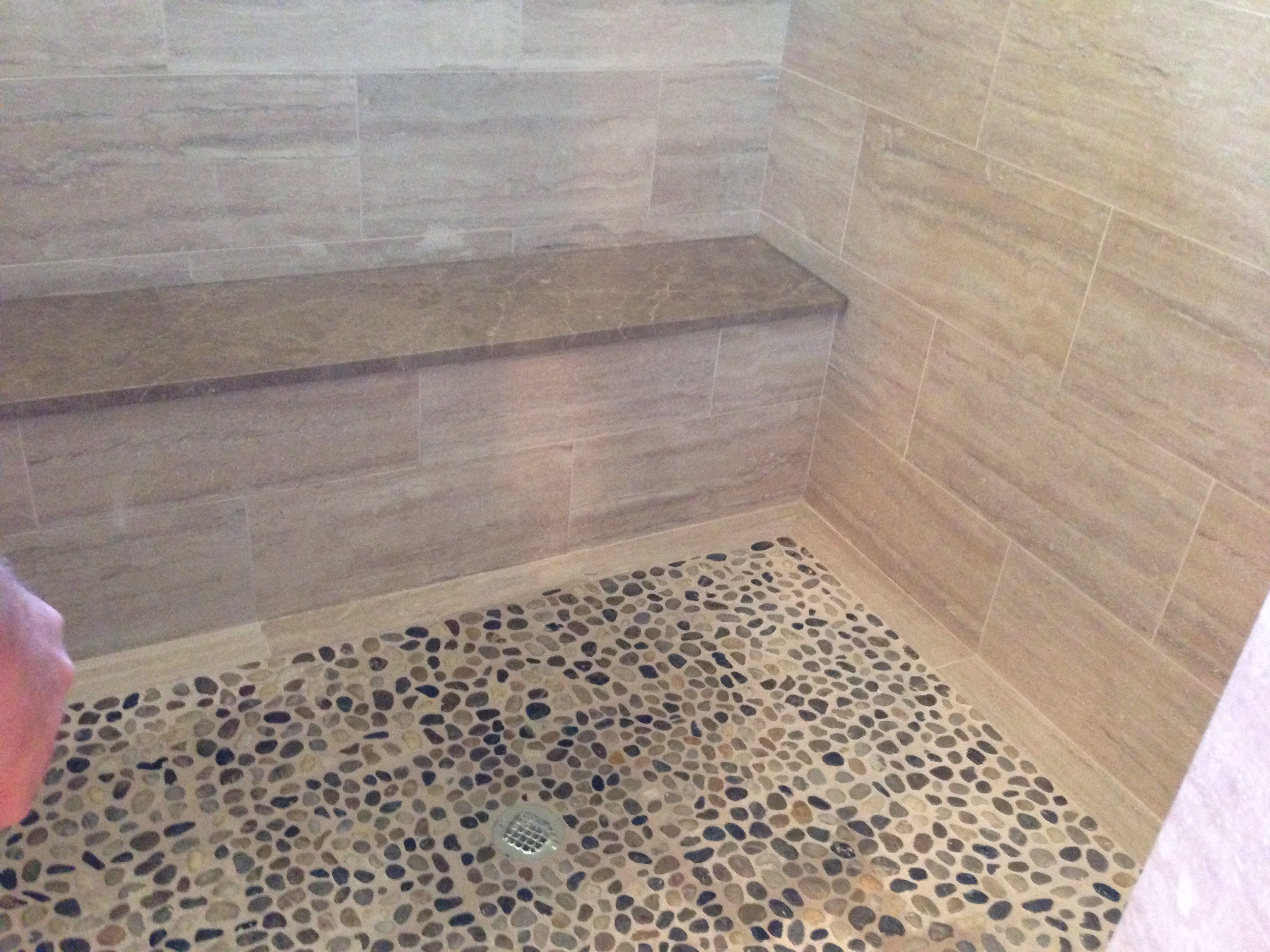 Superb Pebble Shower Floor; Shower Bench; Travertine Shower
