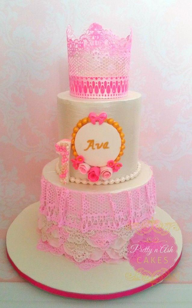 Princess Crown 1st Birthday Cake Pretty n Ash Cakes Melbourne
