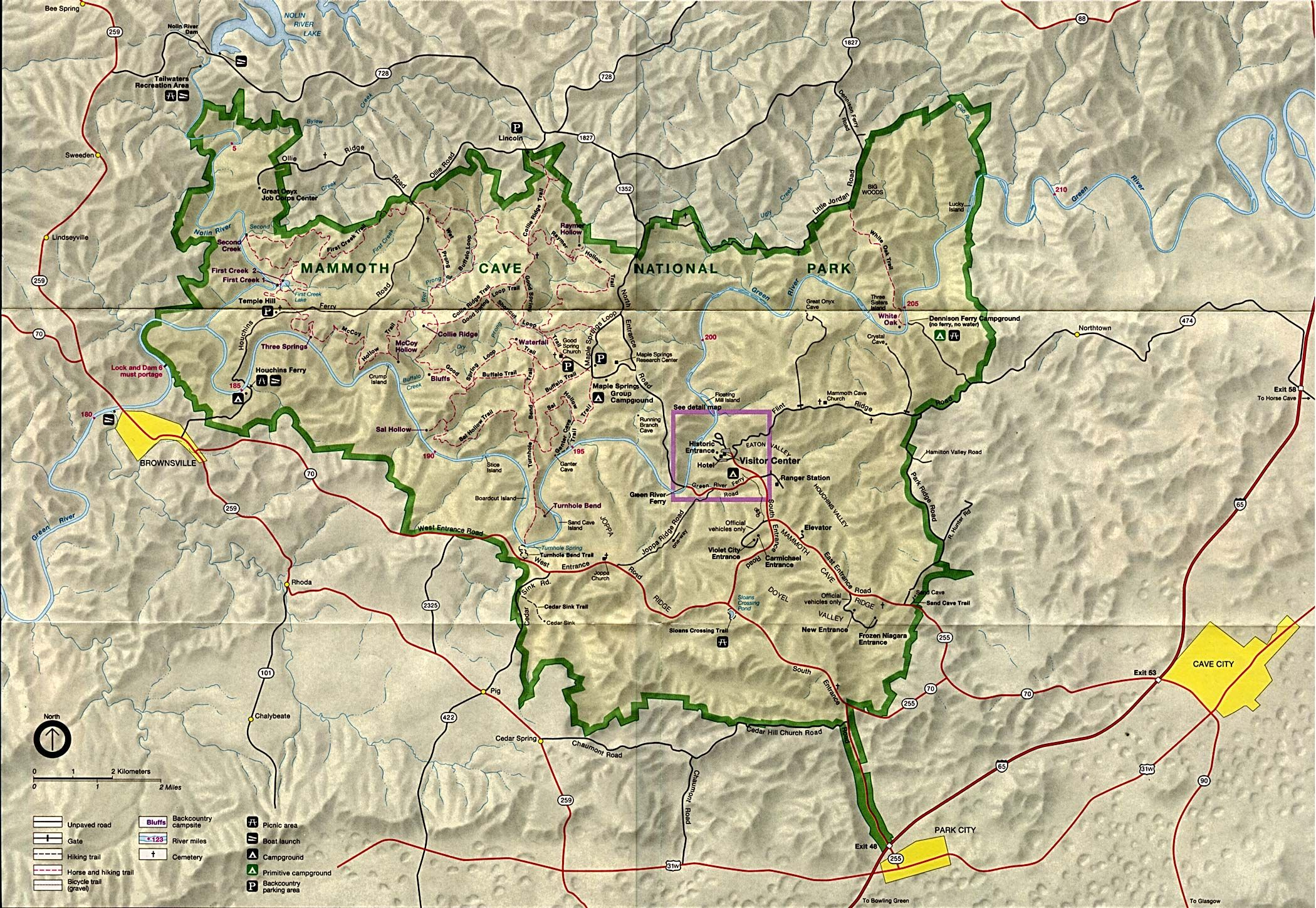 mammoth cave Mammoth Cave National Park Map See map details From