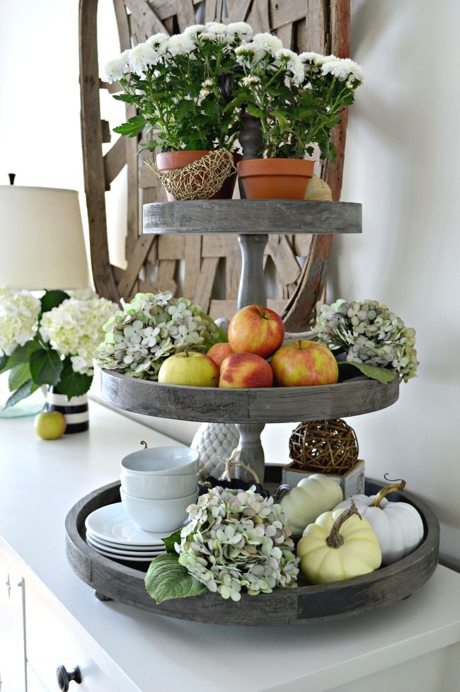 A 3 tiered tray decorated for a fall home seasonal harvest tour do it yourself today - French country table centerpieces ...