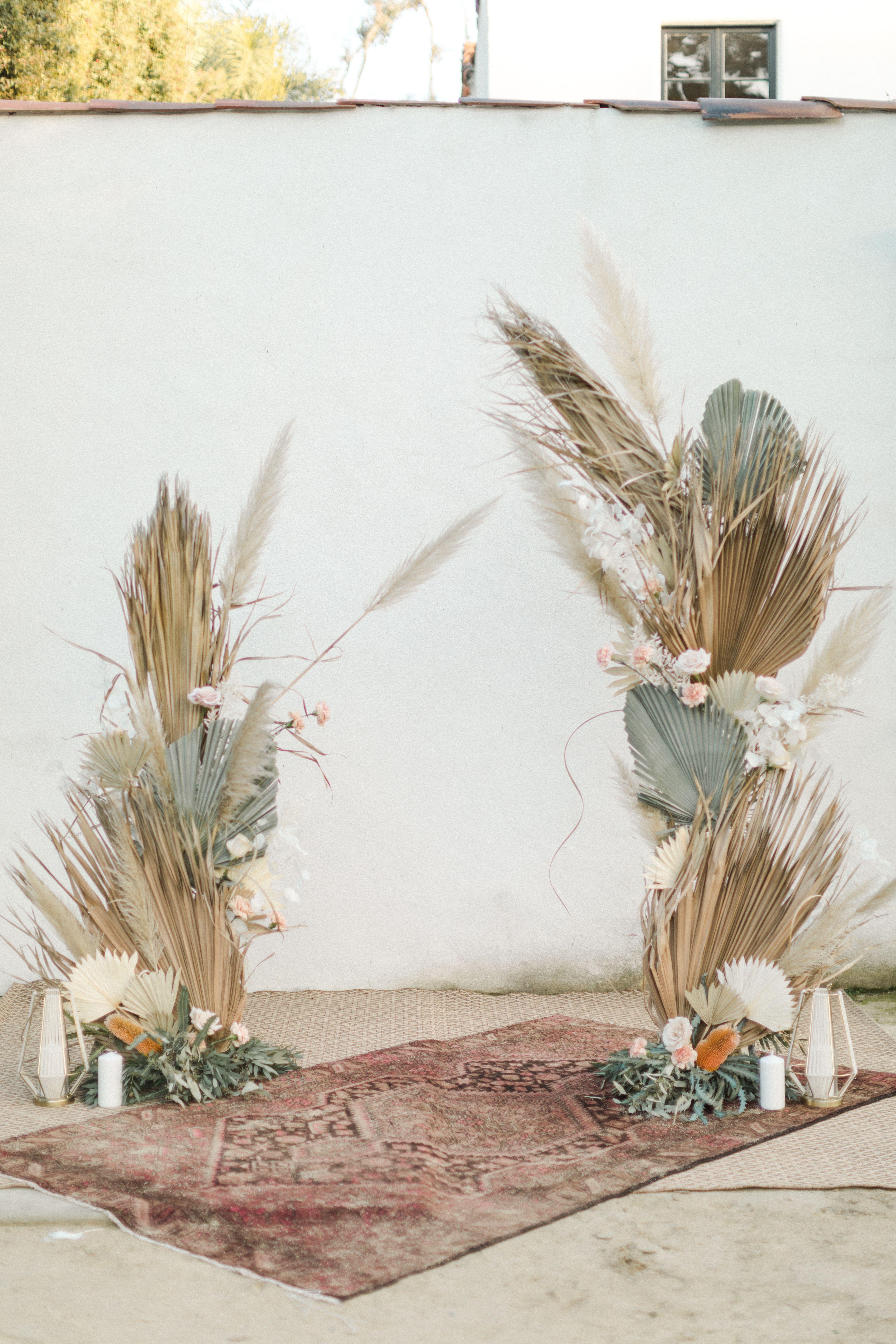 Boho Dried Palm Alter Pampas Grass Garland Dried Palm Wedding Palm Wedding