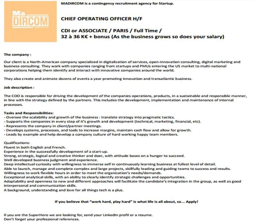 Chief Operating Officer H/F / Startup américaine spécialisée en - chief operating officer job description