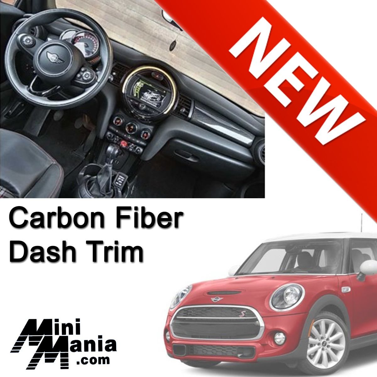 Mini Cooper Carbon Fiber Dash Trim Gen3 F55 F56 F57 Mini Cooper Carbon Fiber Carbon