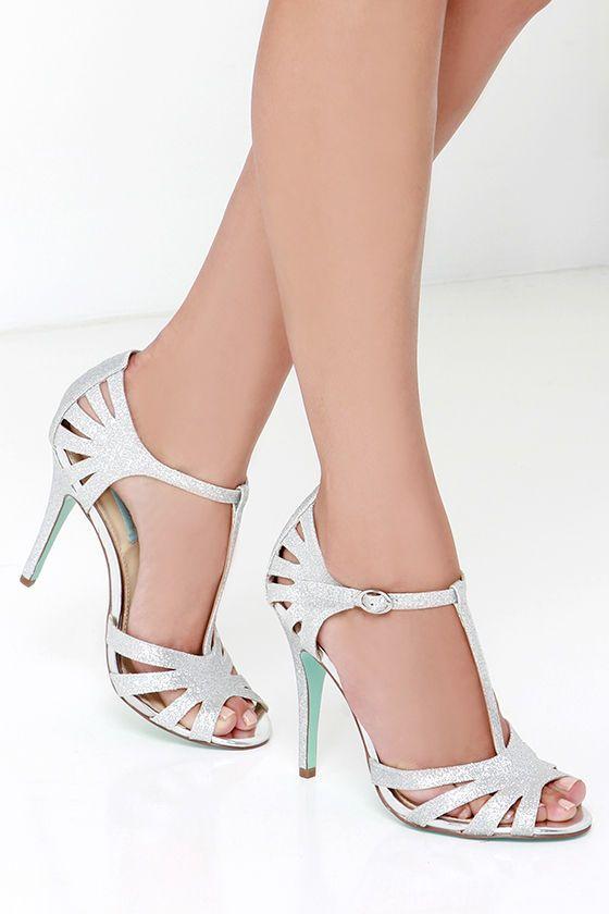Blue by Betsey Johnson Tee Silver Glitter Dress Sandals  ed3f92c8399